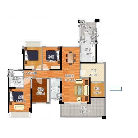 绿岛湖壹号3室2厅2卫1厨156.00㎡户型图