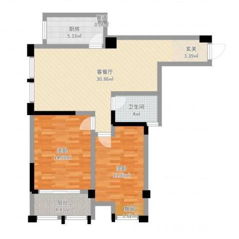 藻江花园二期2室2厅1卫1厨92.00㎡户型图