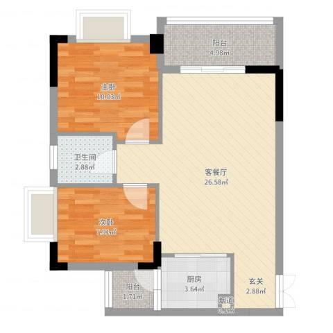 景新豪苑2室2厅1卫1厨72.00㎡户型图