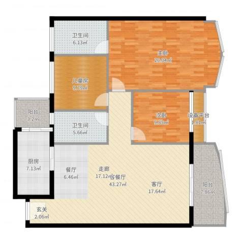 荔城碧桂园3室2厅2卫1厨151.00㎡户型图