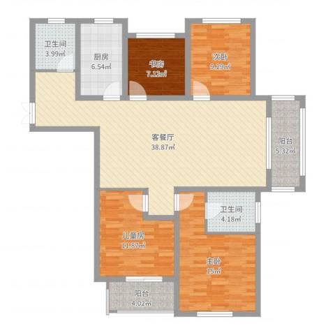 金河国际花苑4室2厅2卫1厨133.00㎡户型图