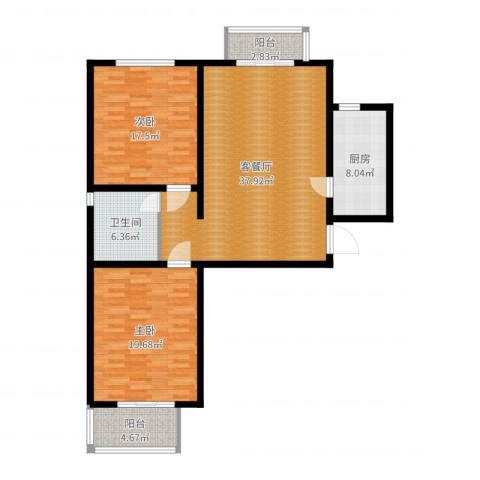 涿州名流涿郡翡翠城2室2厅1卫1厨97.00㎡户型图