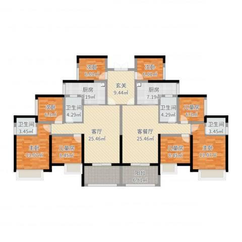 天湖御林湾8室3厅4卫2厨214.00㎡户型图