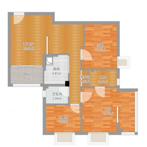 金燕花苑3室2厅1卫1厨96.00㎡户型图