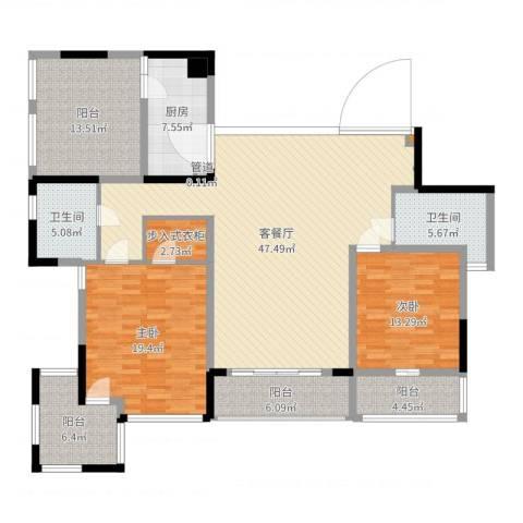 万科华庭2室2厅4卫1厨165.00㎡户型图