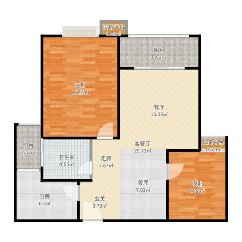 和泽佳苑2室2厅1卫1厨97.00㎡户型图