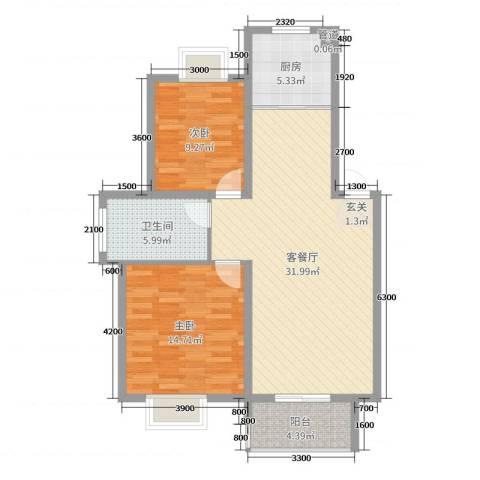 鼎邦家和园2室2厅1卫1厨89.00㎡户型图