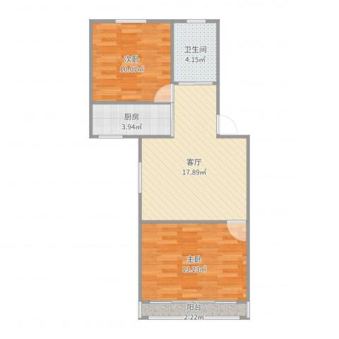 嘉城新航域53平米两房2室1厅1卫1厨64.00㎡户型图