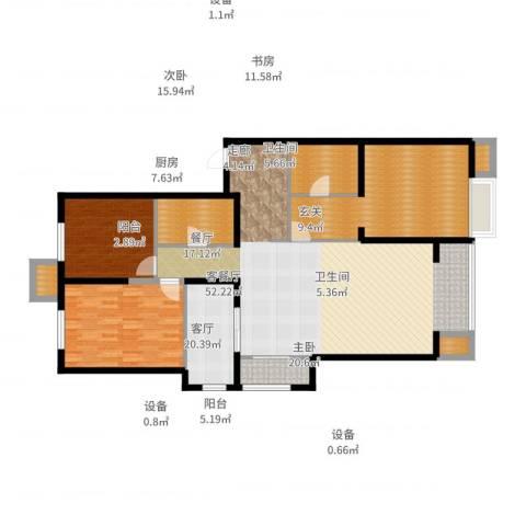 晋中万科・朗润园3室2厅2卫1厨156.00㎡户型图