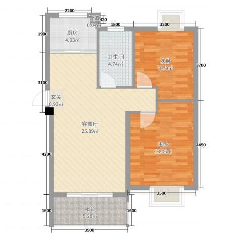 鼎邦家和园2室2厅1卫1厨78.00㎡户型图
