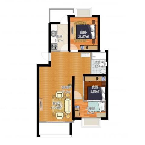 新悦花园1室2厅1卫1厨65.00㎡户型图