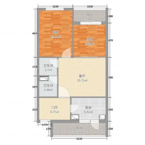 椿树园2室1厅2卫1厨80.00㎡户型图