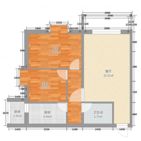 常青园一区2室1厅1卫2厨74.00㎡户型图