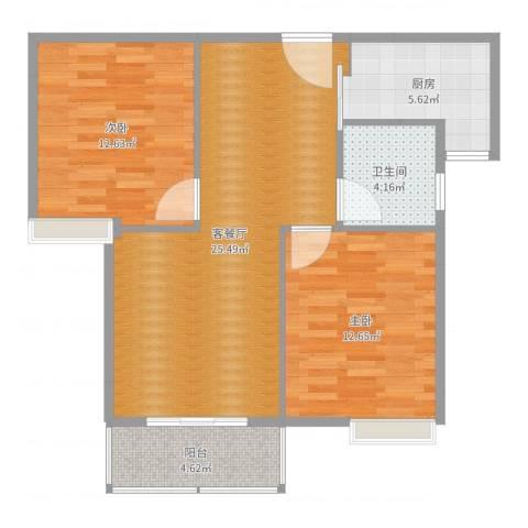 碧水晴天2室2厅1卫1厨81.00㎡户型图