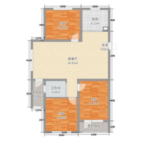 万嘉国际3室2厅1卫1厨122.00㎡户型图