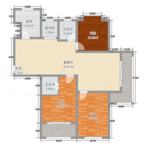 滨河城市经典3室2厅2卫1厨148.00㎡户型图