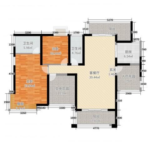 凯旋名门花园2室2厅2卫1厨137.00㎡户型图