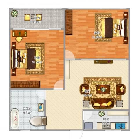 洪楼新居2室1厅1卫1厨118.00㎡户型图