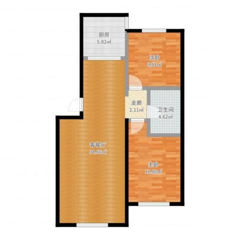 哈东城市公元2室2厅1卫1厨85.00㎡户型图