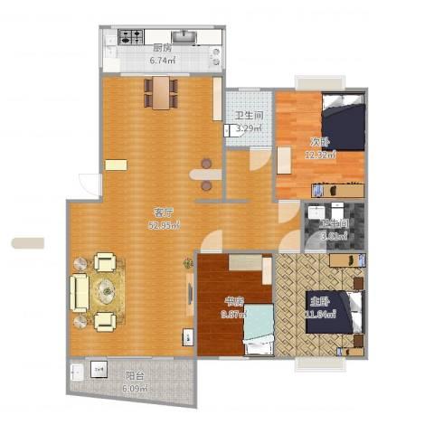 长虹小区3室1厅2卫1厨133.00㎡户型图
