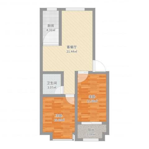 紫金园翡翠花园2室2厅1卫1厨67.00㎡户型图