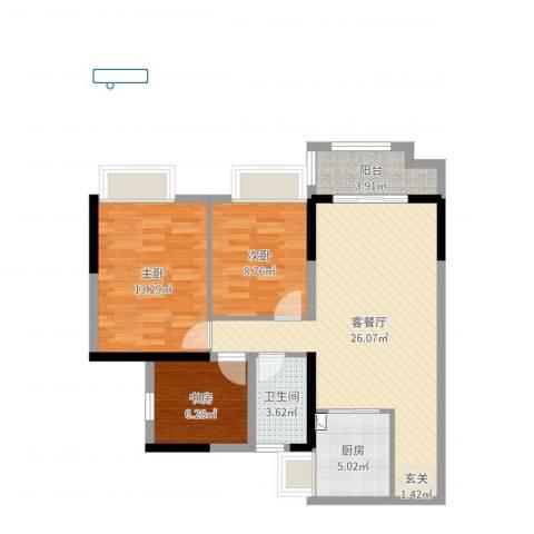深基天海城市花园3室2厅1卫1厨84.00㎡户型图