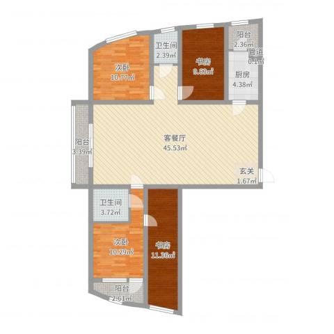 丽水阳光世纪城4室2厅2卫1厨133.00㎡户型图