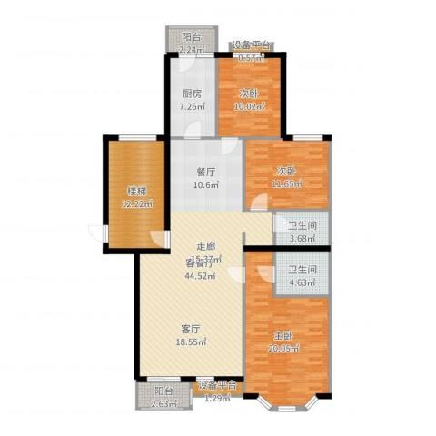 玉景公寓3室2厅2卫1厨151.00㎡户型图