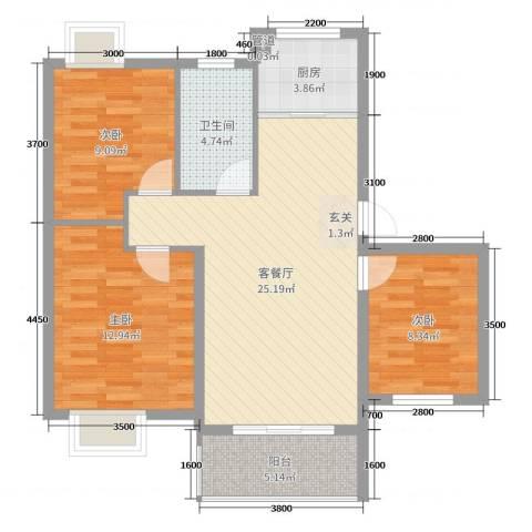 鼎邦家和园3室2厅1卫1厨89.00㎡户型图