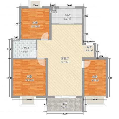 鼎邦家和园3室2厅1卫1厨101.00㎡户型图