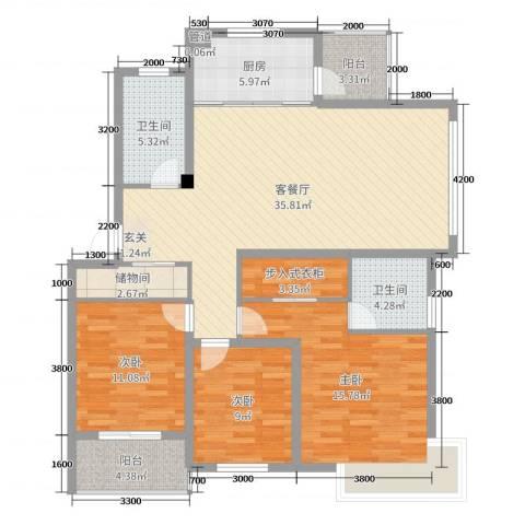 鼎邦家和园3室2厅2卫1厨124.00㎡户型图