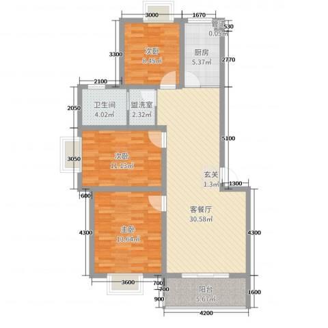 鼎邦家和园3室2厅1卫1厨102.00㎡户型图