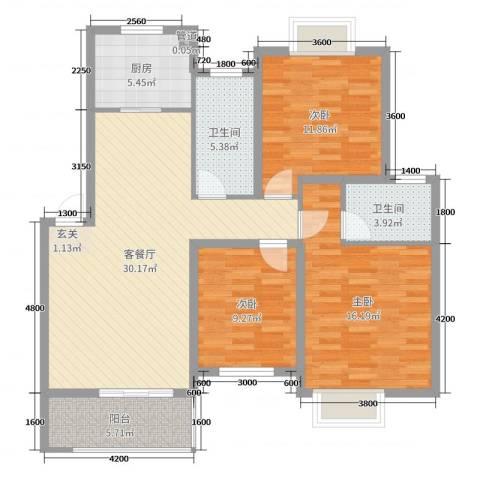 鼎邦家和园3室2厅2卫1厨109.00㎡户型图