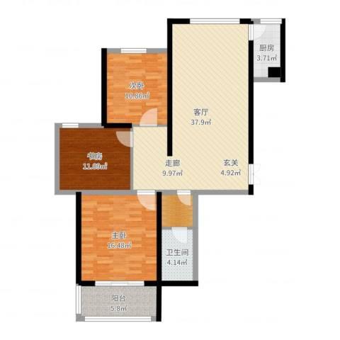 腾运世元3室1厅1卫1厨92.57㎡户型图