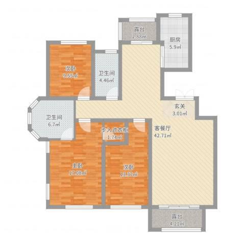 同济盛世家园3室2厅2卫1厨136.00㎡户型图