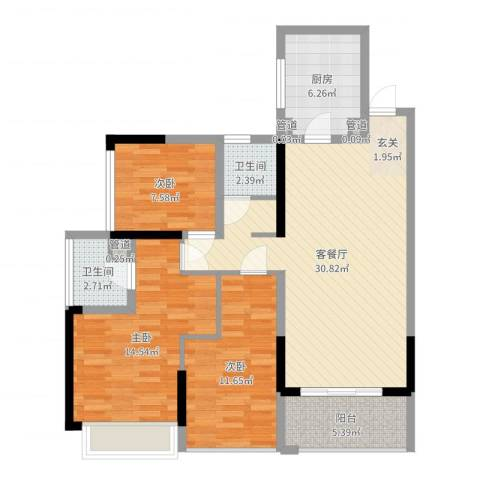 合正上东国际三期3室2厅2卫1厨102.00㎡户型图