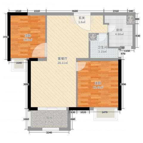 锦绣天地2室2厅1卫1厨78.00㎡户型图