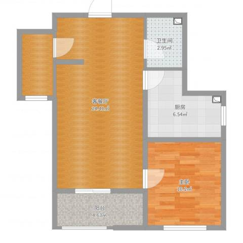 开元观唐1室2厅1卫1厨65.00㎡户型图