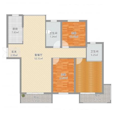 金色维也纳2室2厅2卫1厨160.00㎡户型图