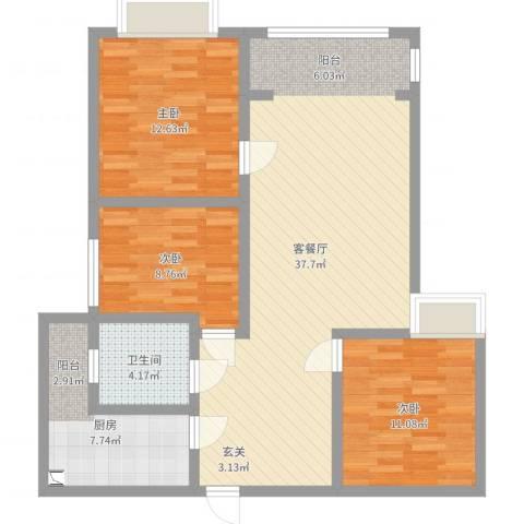九悦鸿城3室2厅1卫1厨103.00㎡户型图