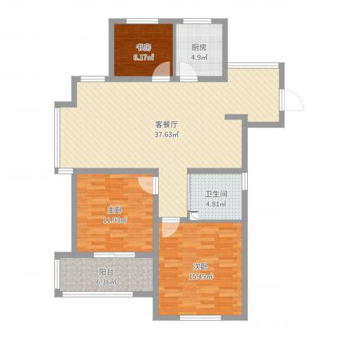 御园3室2厅1卫1厨109.00㎡户型图