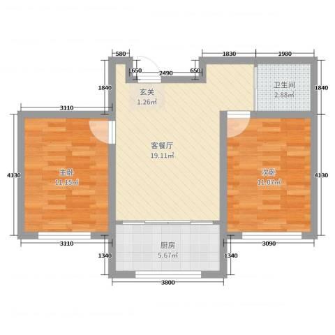 文祥豪府二期2室2厅1卫1厨65.00㎡户型图