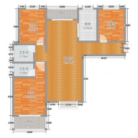盛世华庭3室2厅2卫1厨121.00㎡户型图