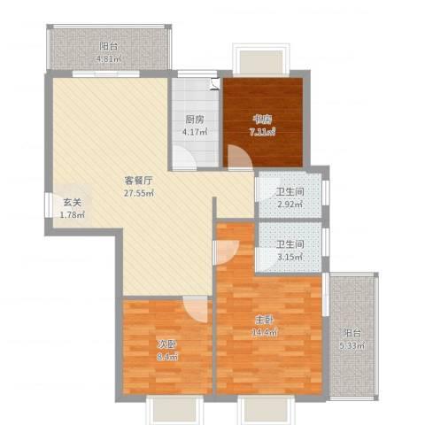 万豪尊品3室2厅2卫1厨97.00㎡户型图