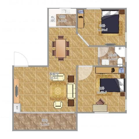 白鹭花园2室2厅1卫1厨80.00㎡户型图