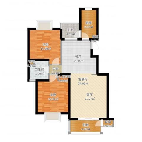 书香银苑2室2厅1卫1厨95.00㎡户型图