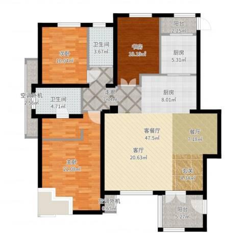 万科四季花城3室2厅2卫1厨142.00㎡户型图