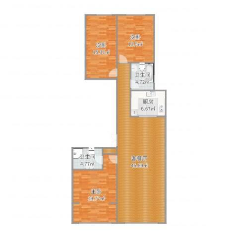 米兰花园3室2厅2卫1厨110.92㎡户型图