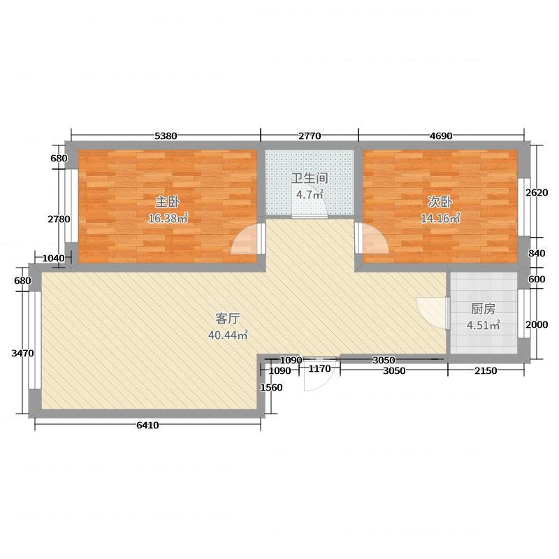 2号楼标准层7~10轴平面图