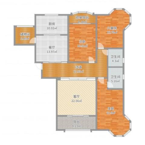 湟家花园3室2厅2卫1厨147.40㎡户型图